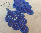 Filigree earrings, hand altered purple and blue victorian chantilly lace filigree dangle earrings, lacy earrings