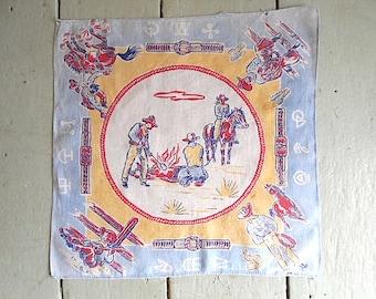 1950s Cowboy handkerchief hankie - buckeroos, campfire, ranch brands
