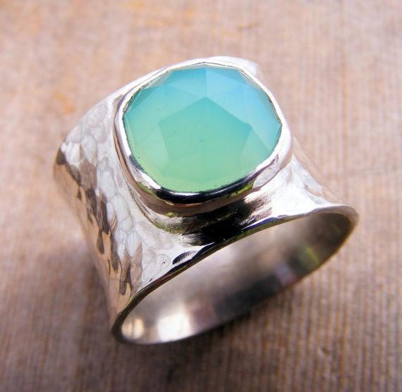 Wide Sterling Silver Aqua Chalcedony Gemstone Chunky Ring Band, Ocean Beach Sea Ring, Turquoise, Aquamarine, Cocktail Ring, Statement Ring