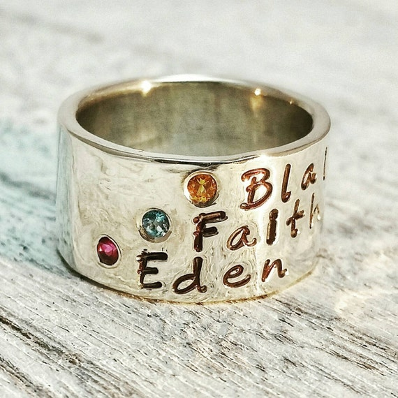 Personalized Name Birthstone Wide Ring Band, Flush Set Gemstone Ring, Mothers Ring, Custom Engraved, Sterling Silver or Gold Wide Ring Band