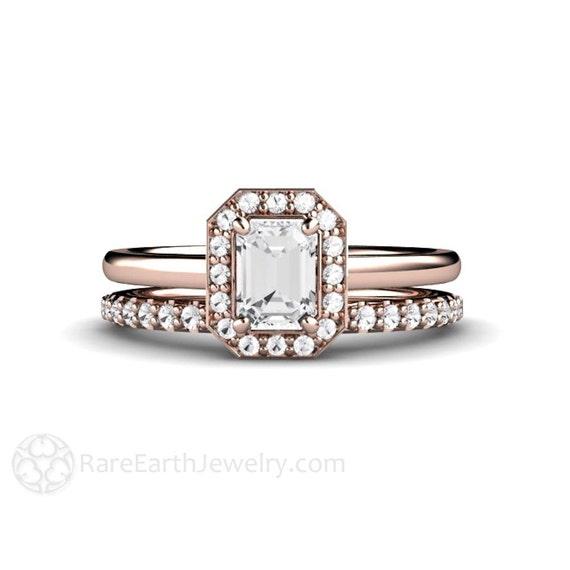 Emerald Diamond Engagement Ring Bridal Set Cut