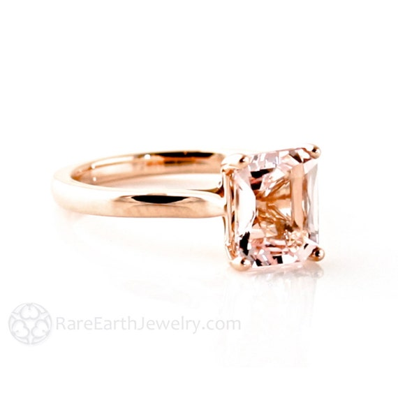 Morganite Ring Morganite Engagement Ring 14K or 18K Rose Gold Emerald Solitaire Gemstone Ring