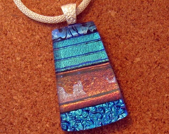 Fused Glass Pendant - Blue Dichroic Pendant - Glass Pendant - Dichroic Necklace - Dichroic Jewelry - Fused Glass Jewelry