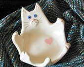 White Porcelain Cat shaped  dish with pink heart