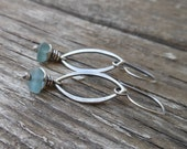 Sea Glass Oval Drop Earrings