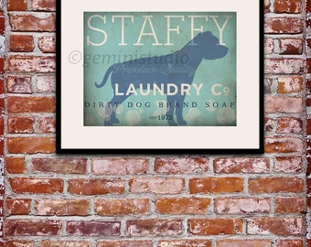 Staffy Staffordshire Terrier dog laundry company laundry room artwork giclee archival signed artists print Pick A Size