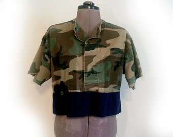 One of a Kind Shirt, Blouse, Upcycled Military Shirt, Handmade, Recycled with Vintage Materials, Short Top, Crop Top, Army Shirt, Casual