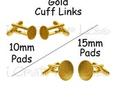 10 (5 pair) Gold Cuff Links Blanks - 10mm or 15mm Glue Pads - SEE COUPON