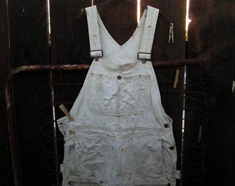 Big Mac Vintage Overalls white cotton canvas Painters overalls 70s vintage workwear M  34 waist