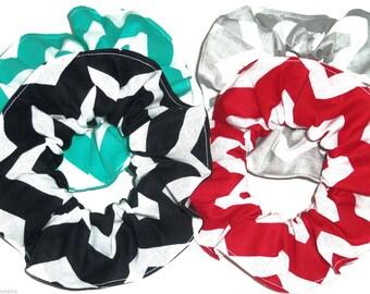 4 Hair Scrunchie Chevron Black Red Aqua Gray White Scrunchies by Sherry Ponytail Holders Ties