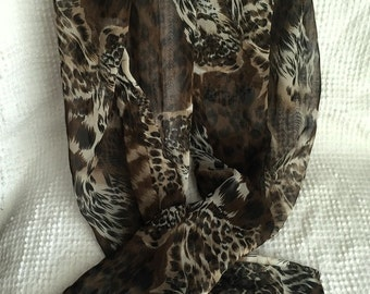 Vintage Silky Long Doubled Scarf Featuring Exotic Tiger Print in Great Fall Colors