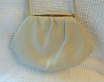 Vintage Off White Ivory Purse with Gold Trim - Small and pretty for a wedding or special occasion