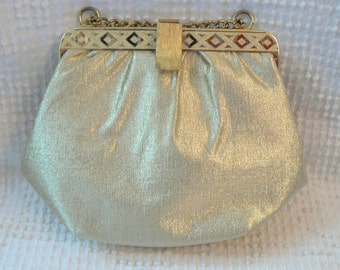 Vintage Gold Lame Purse with Detailed Gold Trim, Unique Clasp and Gold Chain Handle - Perfect for a wedding or special occasion