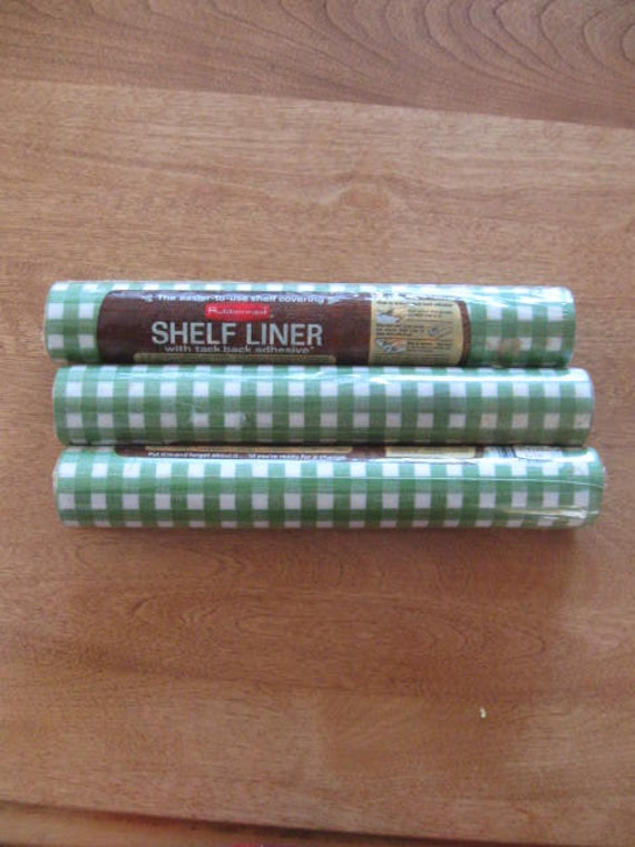 Vintage Green And White Gingham Check Shelf Liner 3 Rolls
