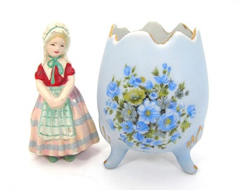 Blue Egg Vase Painted Flowers, Vintage 1950s Era, Made in Japan, Bisque Ceramic, Shabby Cottage Decor, 4 In Tall, Easter Planter Cache Pot
