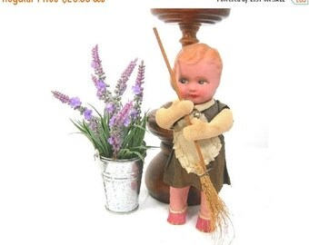 """German Mechanical Doll, 7-1/2"""" Tall, Sweeping Girl, Vintage / Antique c1920, Paper Mache, Cloth, No Key, Paper Shoes"""