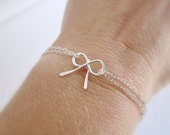 Bow bracelet, bridesmaid bracelet, tie the knot bridesmaid gift, adjustable silver bracelet, pearl clasp, wedding jewelry, silver bow charm