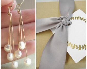 Bridesmaid earrings set of 3, bridesmaid earrings pearl earrings, cultured freshwater pearl dangle earrings, silver earrings gold earrings