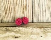 Raspberry mum earrings/flower earrings/hot pink mum earrings/hot pink pin up earrings/retro glam earrings