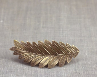 Leaf hair clip barrette bridal grecian goddess brass neoclassical bride bronze wedding hair accessory vintage style bridesmaid