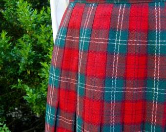 Plaid Pendleton Wool Skirt - Size 10 - Lennox Tartan - 1980s