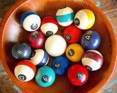 RESeRVED...Take a CUE... Vintage Complete Set of 16 Clay Billiard Balls Pool Balls Man Cave