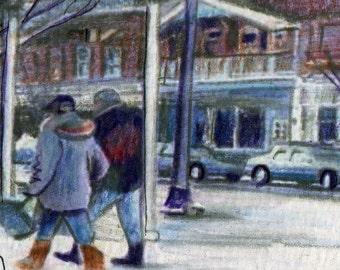 original art  aceo drawing  shopping downtown