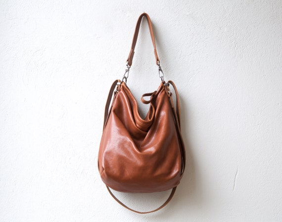 Items similar to saddle leather backpack purse - HOBO PACK in soft ...