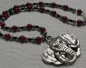 Roll Tide Silver Tone Elephant Crimson Grey Black Beaded Necklace