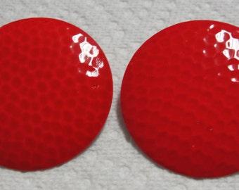 Red Round Metal Pierced Earrings