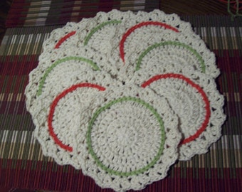 Set of 8,Coasters,Cotton,Gift,Stocking Stuffer,Kitchen,Gifts,Crocheted,Cream,Green,Red,Holidays