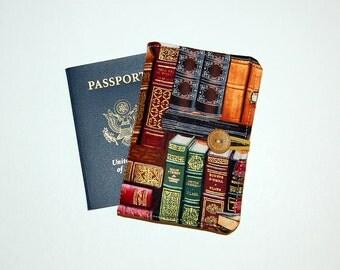 Passport Cover Wallet Travel Organizer - Library Books
