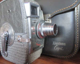Vintage Keystone Capri Movie Camera with Leather Case - Classic Home Movies - FREE SHIPPING