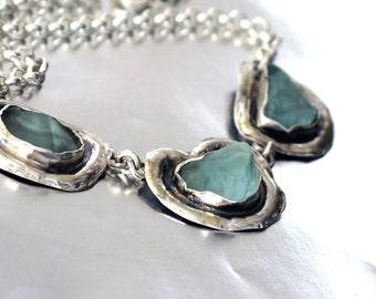Silver Aquamarine Necklace, Aqua Sea Glass Necklace, Sterling Silver Seaglass Jewelry