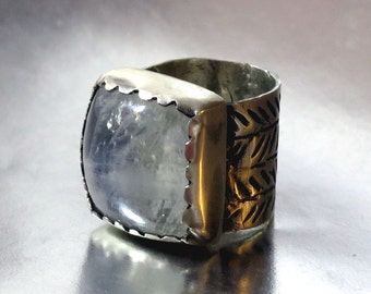 Rainbow Moonstone Ring, Chunky Moonstone Ring, Large Moonstone,Large Silver Ring, Rainbow Moonstone, Blackened  Silver Ring, Square Ring