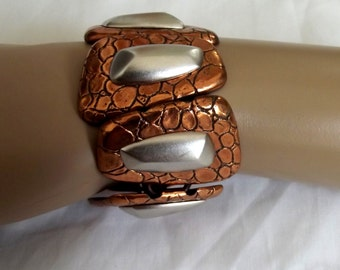 Vintage Bracelet Signed Monet Modernist Copper Silver Links Chunky Abstract