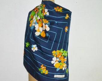 CHRISTIAN DIOR Silk Scarf -Floral silk scarf-blue silk scarf-square silk scarf