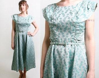 ON SALE Vintage 1960s Dress - Floral Metallic Brocade Ice Aquamarine Cocktail Dress - Large
