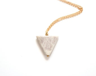 Minimalist Long Jasper Triangle Necklace - Brass, Gold Fill or Sterling Silver