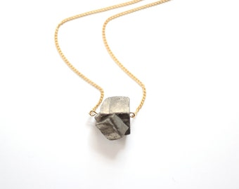 Minimalist Faceted Pyrite Necklace - Brass, Gold Fill, Sterling Silver