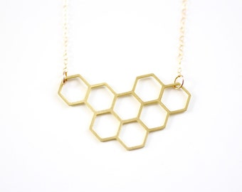 Honeycomb Cluster Necklace - Gold or Silver