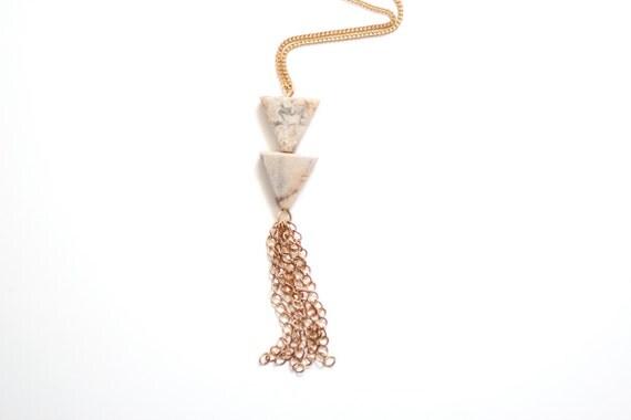 Jasper Double Triangle Tassel Necklace - Brass, 14k Gold Fill or Sterling Silver