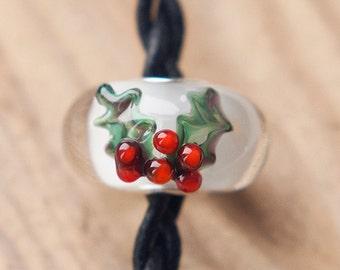 CHRISTMAS HOLLY - Big Hole / Slider Bead - Lampwork