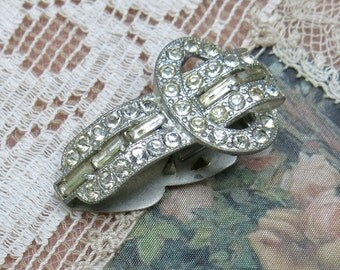 Antique Pave Rhinestone Dress Clip ... 1930s Vintage Art Deco Pot Metal Clip
