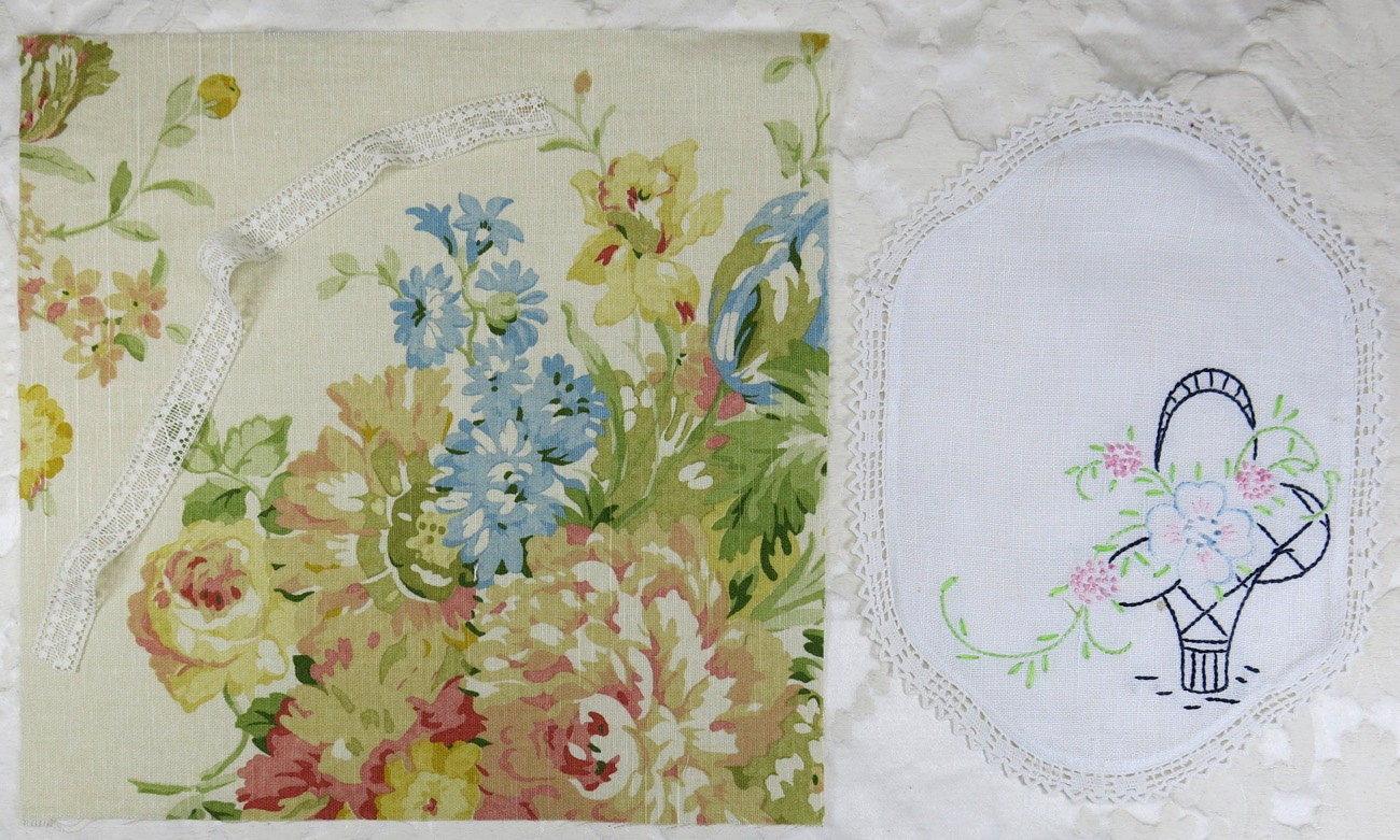 Vintage Embroidered Fabric 107
