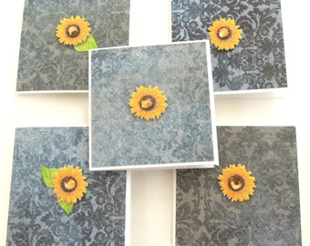 Teeny Tiny Sunflower Mini Cards - Set of 5 Blank Cards