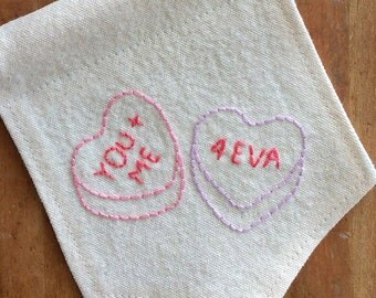 Valentine Gift for Her, Valentine Canvas Banner, Embroidered Wall Pennant, Conversation Hearts, Party Decor, Candy Hearts Pennant, Wall Flag