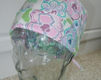 Tie Back Surgical Scrub Hat in Pastel Floral Wintergreen