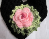 Knit cowl,neckwarmer,neckwrap,scarf,colored flowers ,winter accessories,black mohair