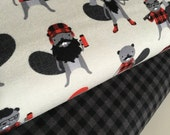 FLANNEL fabric, Burly Beavers Fabric Bundle of 2, Hipster fabric, Lumberjack, Red Black Plaid, Robert Kaufman- Choose the cuts
